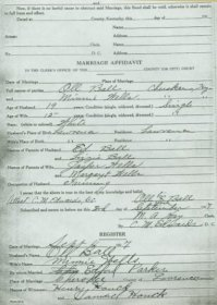 Marriage Affidavit of Oliver Ball and Minnie Wells